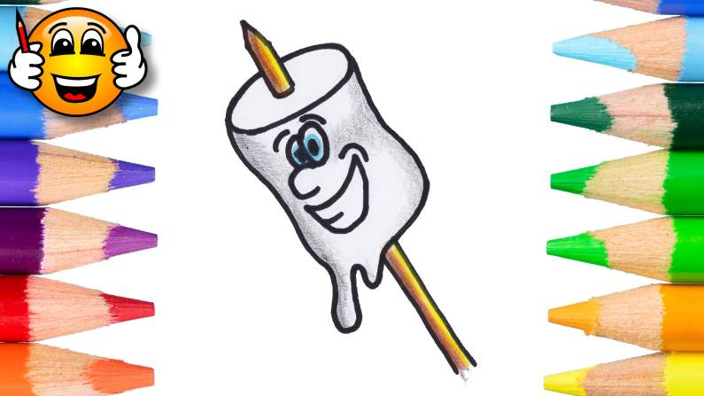 Learn to Color and Draw a Marshmallow Cartoon