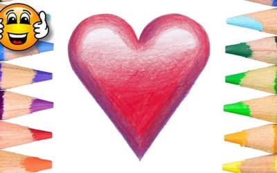 Learn to color draw valentine heart emoji coloring page