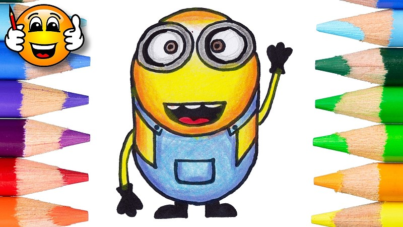 Learn to draw and color a Minion emoji coloring page