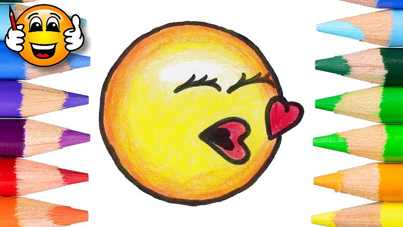 Learn to Color and Draw the Kiss Emoji