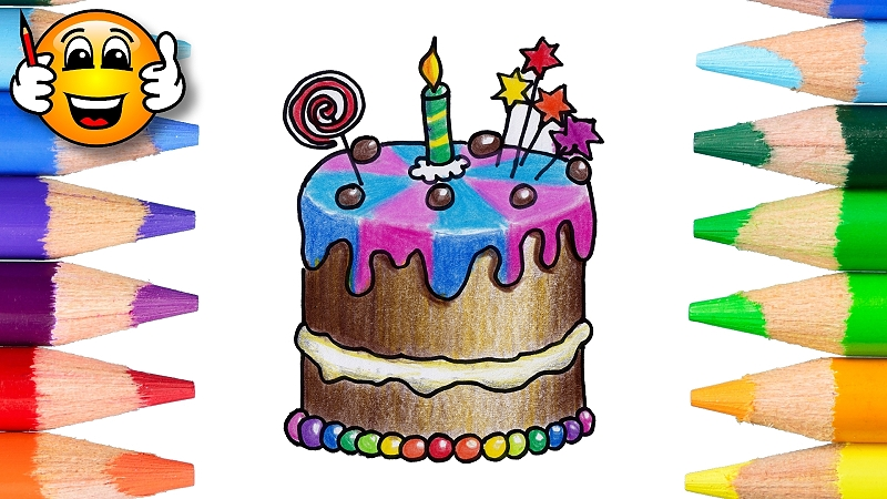 How to Draw a Birthday Cake Coloring Page