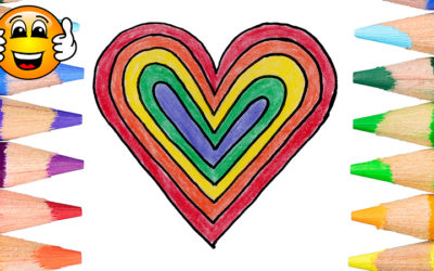 Learn How to Color and Draw a Rainbow Heart Coloring Page