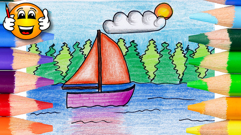 How to Draw and Color a Sailboat Coloring Page
