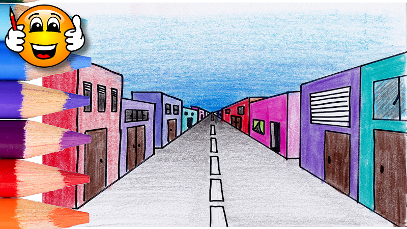One Point Perspective Street Coloring Page