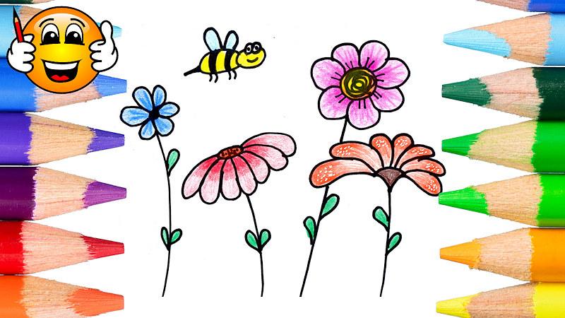How to Draw Flowers Coloring Page for Kids