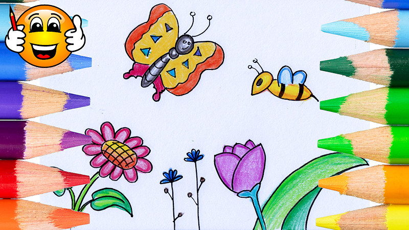 Learn to Draw a Flowers with Butterfly and Bee Coloring Page for Kids