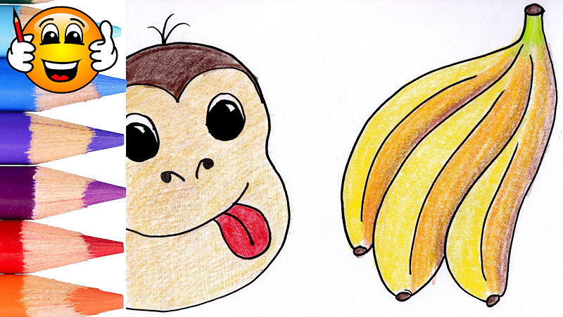 Learn to Color Draw Monkey Banana Coloring Page for Kids