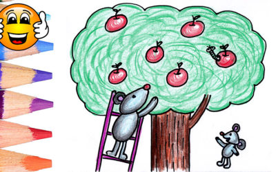 Learn to Draw Apple Tree Mouse Coloring Page for Kids