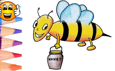 How to Draw a Bee & Coloring Page for Kids