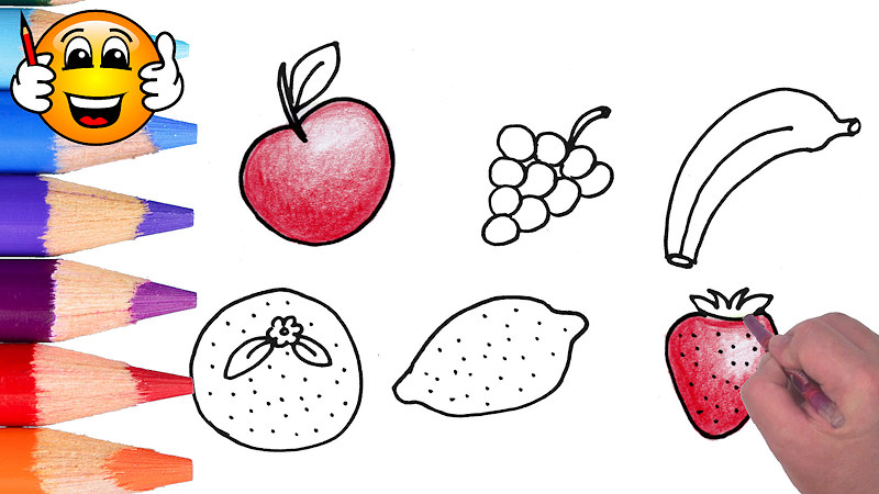 Draw and Color a Fruit Coloring Page For Kids
