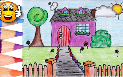 Coloring Pages For Kids House with Gate