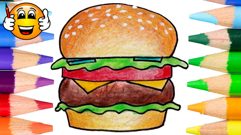 Coloring Pages For Kids Hamburger