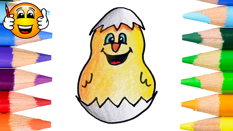 How to Draw and Color a Hatching Chicken Cartoon