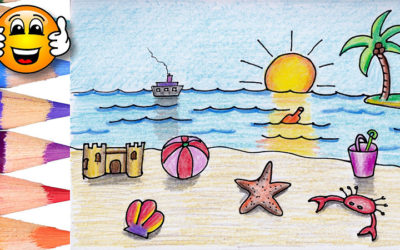 Coloring Pages For Kids Beach and Toys