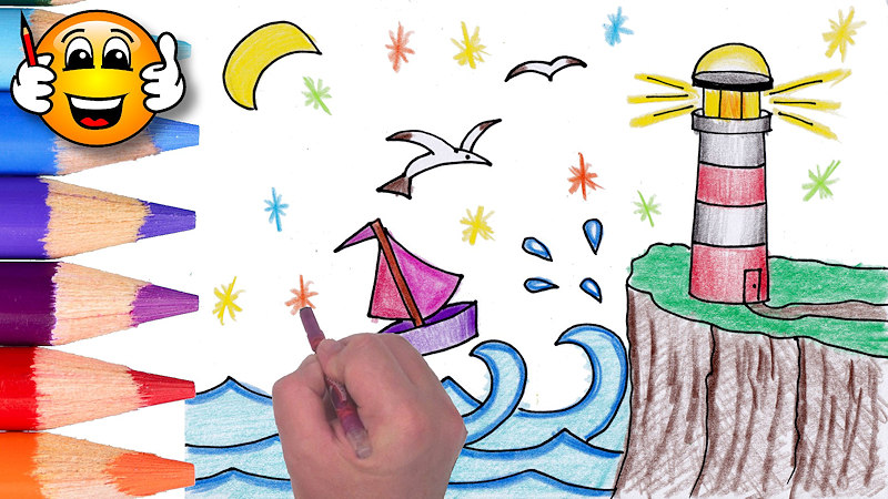 Coloring Pages For Kids Lighthouse Boat