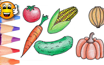 Coloring Pages For Kids Vegetables Corn Pumpkin