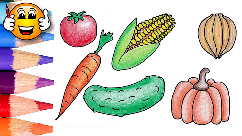 Coloring Pages For Kids Vegetables Corn Pumpkin - Draw With