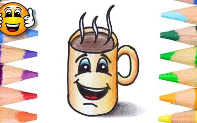 Learn to color and draw a hot chocolate cartoon