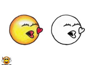 Drawwith Dot Com Kiss Emoji Coloring Page Draw With