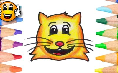 How to Draw a Cute Cat Face Emoji Coloring Page
