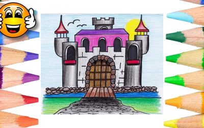 How to Draw a Castle Coloring Page for Kids