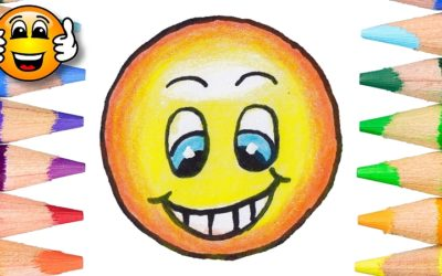Learn to Color and Draw a Grinning Emoji