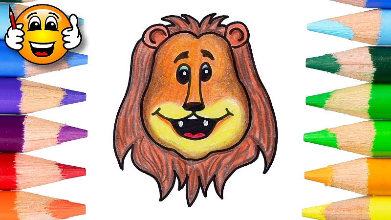 How to Draw a Cartoon Lion Coloring Page for Kids