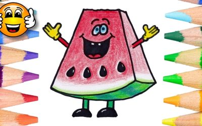 How to Draw a Cute Kawaii Watermelon Cartoon Coloring Page