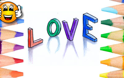 How to Draw 3D Love Letters Word Coloring Page