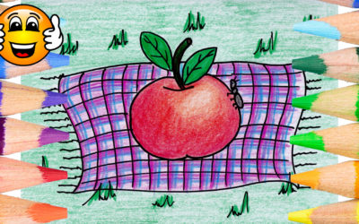 Apple on a Blanket Coloring Page for Kids