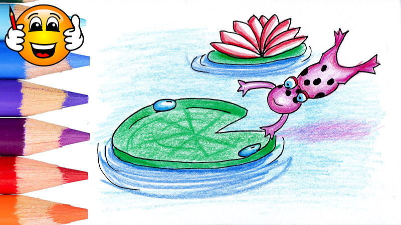 Learn to Draw a Frog Jumping onto a Lilypad Coloring Page for Kids