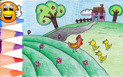 Learn to Draw a Farm with House and Chickens Coloring Page for Kids