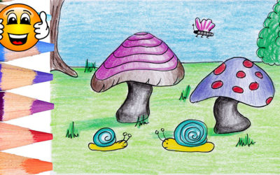 Learn to Draw a Garden with Mushrooms and Snails Coloring Page for Kids