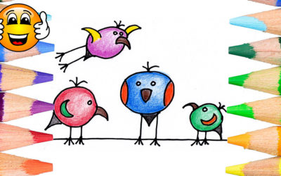 How to Draw Cartoon Birds Coloring Page for Kids
