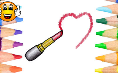 Learn to Color and Draw a Cute Lipstick Heart Coloring Page