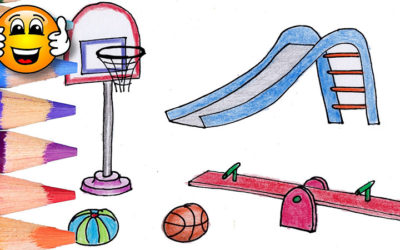 Coloring Pages For Kids Playground Slide